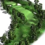 Hole 14, Par 4: A challenging dogleg left requiring two well-hit shots to get there in regulatio