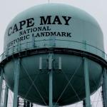Across the street from the famous Cape May water tower.