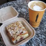 My Latte and delicious Almond Cranberry Cake (07/June/15).
