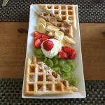 Waffles with syrup and fruit!