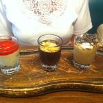 Shot desserts - strawberry cheesecake, amaretto chocolate pot and tiramisu mousse
