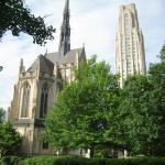 The Heinz Memorial Chapel (left) and the Cathedral of Learning (right)