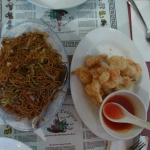 """""""Vegetarian Hakka Chow Mein"""" and """"Crispy Fried Butterfly Prawns with Sweet & Sour Sauce"""""""
