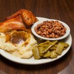 Baked Chicken, Mashed Potatoes and Gravy, Black Eyed Peas and Green Beans
