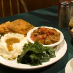 Fried Chicken, Mashed Potatoes & Gravy, Okra & Tomatoes and Collards