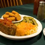 Meat Loaf, Fried Squash, Green Beans and Macaroni & Cheese