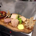 Sharing gourmet Gorsey platter- pate, hare, duck, salmon foie gras and more!