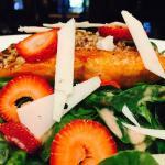 Pecan Crusted Salmon Salad with Strawberries,Spinach,Dry Goat Cheese & White Balsamic Vinaigrett
