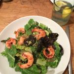 shrimp salad with quinoa and golden raisons!