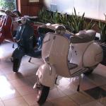Lobby with Vespa bikes