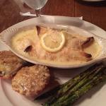 Shrimp Crepes, Parmesan Tomato and Grilled Asparagus