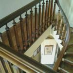Looking down at the black walnut staircase.