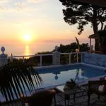 Sunset overlooking the pool and Ischia