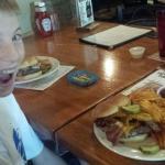 My son Joe is pumped to eat his grumpy burger!