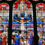 Just one of the gigantic stained glass windows. This one is over 500 sq ft!
