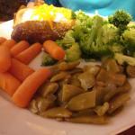 Vegetable plate, baked potato, carrots, green bean & baked potator