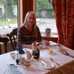 My wife Becky at breakfast at Culdearn