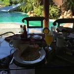 Bali breakfast served poolside.