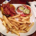 Bacon burger, kids fingers, buffalo chicken sandwich, firehouse burger, whiskey burger