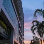 Hotel building at dusk