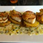 "seared ""giant"" maine scallops; olive oil poached yukon gold potatoes, fennel marma"