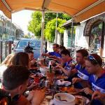 hungry cyclists enjoying the food