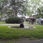 yard, fountain