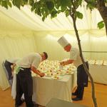 Preparing the dessert for presentation