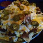 The nachos with shredded beef and salsa