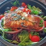 A Very Tasty and Healthful Salad with Salmon
