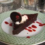 Flourless chocolate torte with raspberry sauce-need to share :-)