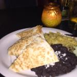 El Rey's famous chicken quesadilla with black beans and rice.