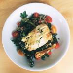 Grilled halloumi on a kale and freekeh salad