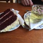 Rose bud tea and red velvet cake deliciously flavoured to complement one another.
