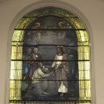 Beautiful stained glass in the basement hall