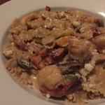 Farfalle with Sundried Tomatoes, Mushrooms and Grilled Shrimp in a cream sauce