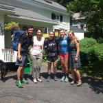 Our daughter with her AT hiker friends and Lesa, just before they headed back onto the trail!