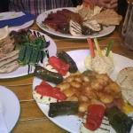 Vegetarian and meat platters with garlic prawns