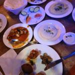 What was left of the appetizers.. Kebbeh, Hummos, Baba Ganouge, Mushrooms and Cauliflower