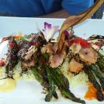 ahi tuna with coconut rice & asparagus