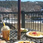 waffles with jams & mango smoothie plus a great view