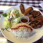 Lunch special: chicken teriyaki with egg roll