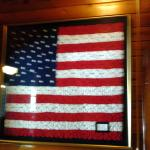 This American flag is either crocheted or knitted by hand. It is so beautiful up close.