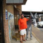 Photo opportunity in the front of the restaurant with the fake burro