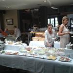 Brunch table with lots of food -