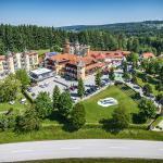 Das unverwechselbare Ambiente des Hotel Guglwald mit Blick über die Grenze nach Tschechien