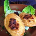 Fried polish cheese with jam, pineapple and salad