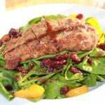 Salade épinards, clémentines, cramberries poulet
