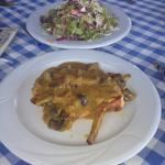 Chicken & mushrooms with a mustard sauce plus salad