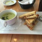 Cold soup and grilled cheese and bacon sandwich special - very good